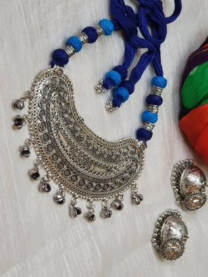 Rajwada Oxidized Necklace Set
