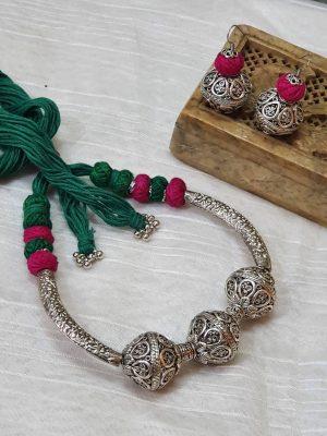 Dhovana Oxidized Necklace Set