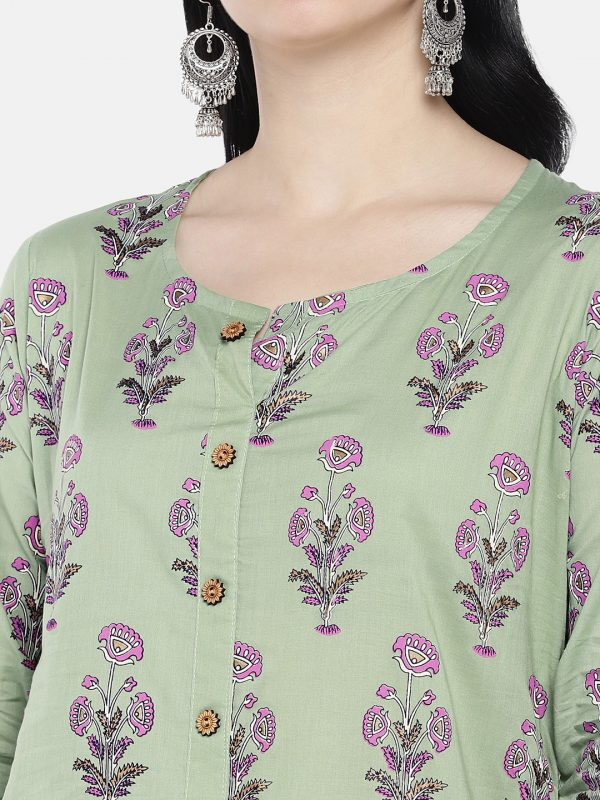 Olive green printed cotton kurta