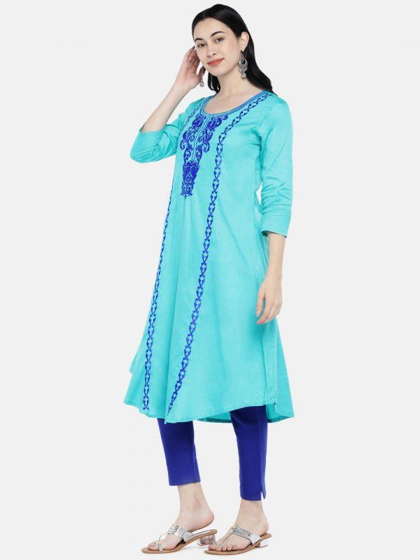 Sea green cotton a-line kurti
