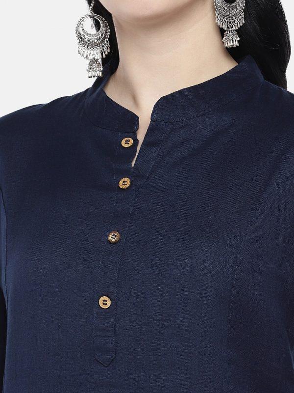 Solid black cotton linen kurti