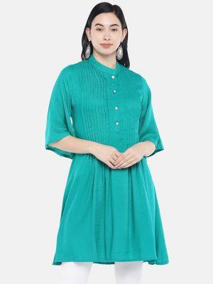Green Pintuck Tunic
