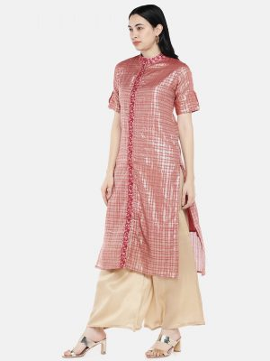 Pink Checks Chanderi Kurti