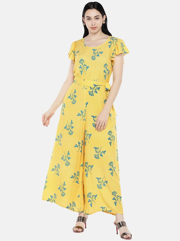 Yellow rayon printed jumpsuite