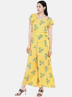 Yellow Printed Rayon Jumpsuit