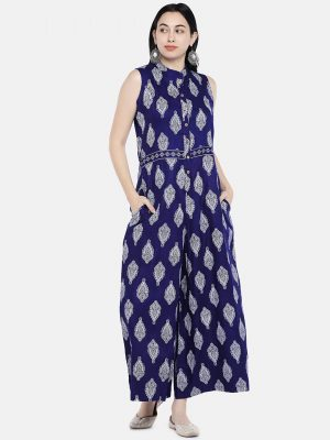 Blue Jacquard Printed Jumpsuit