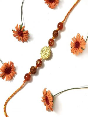 Orange Gemstone Gold Plated OM Rakhi