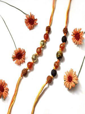 Orange Onyx OM Rakhi Bracelet Combo Set