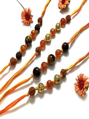 Tigers Eye Rudraksha Rakhi Bracelet Combo Set Of 4