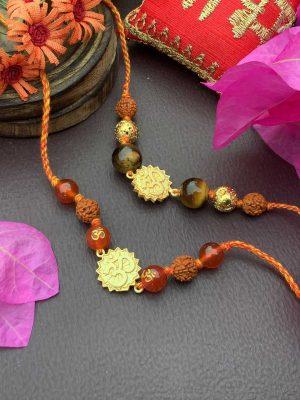 Orange Onyx Gold-plated OM Rakhi Bracelet Combo Set