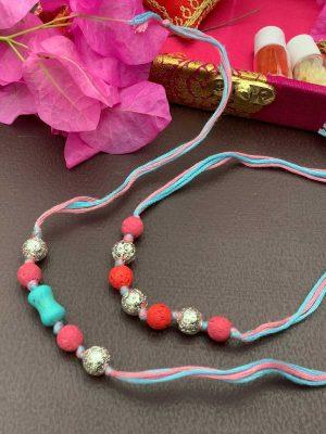 Multicolor Lava Kids Rakhi Bracelet Combo Set