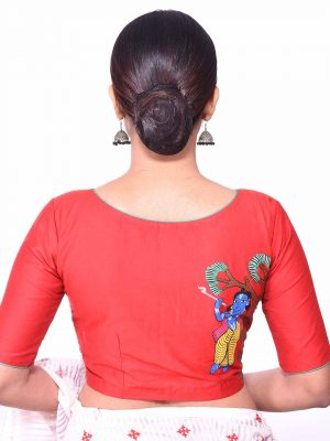 Red Cotton Silk Pattachitra Blouse