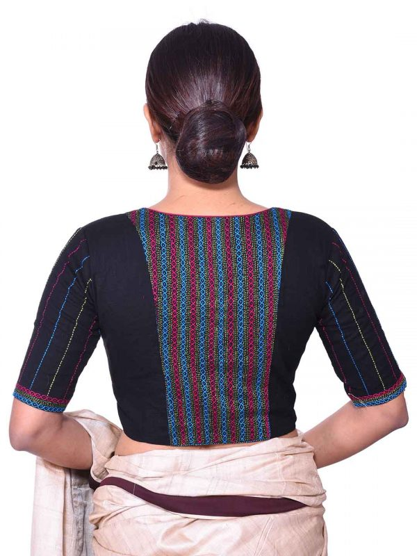 Black Kantha Embroidery Blouse