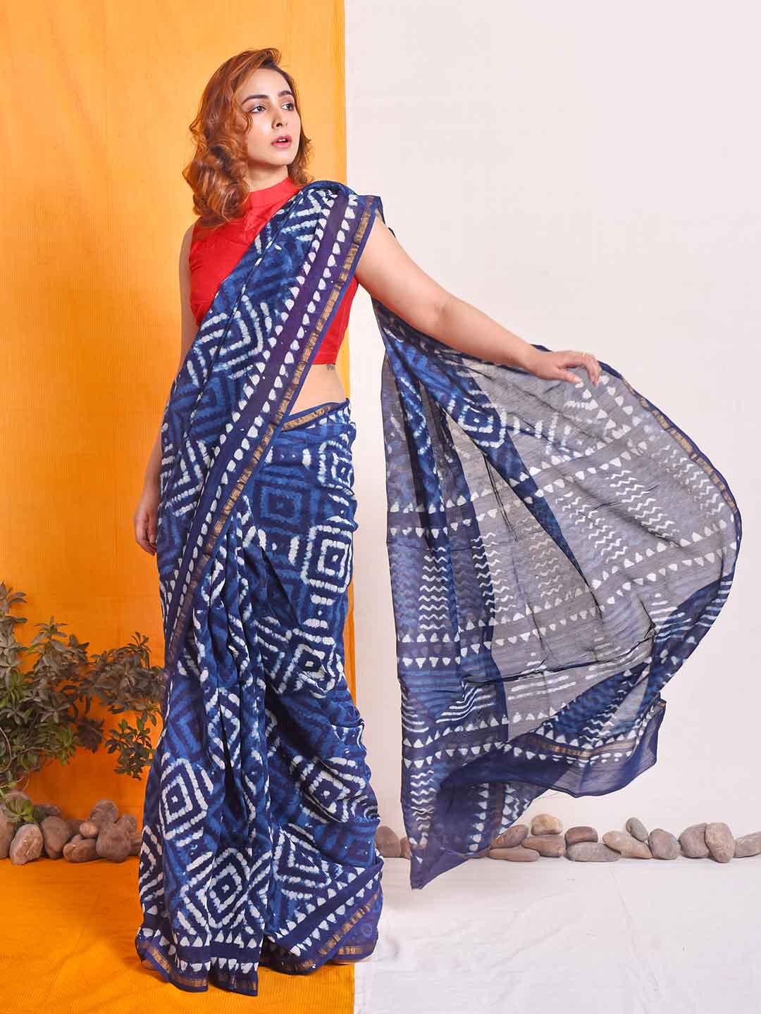 Handblock printed chanderi silk saree