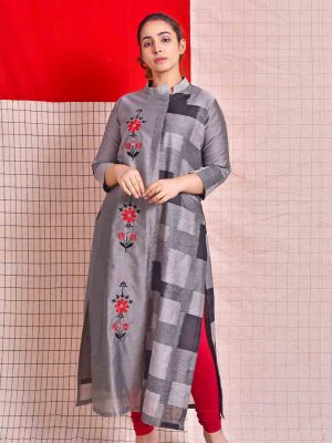 Chanderi Silk Embroidered Kurta