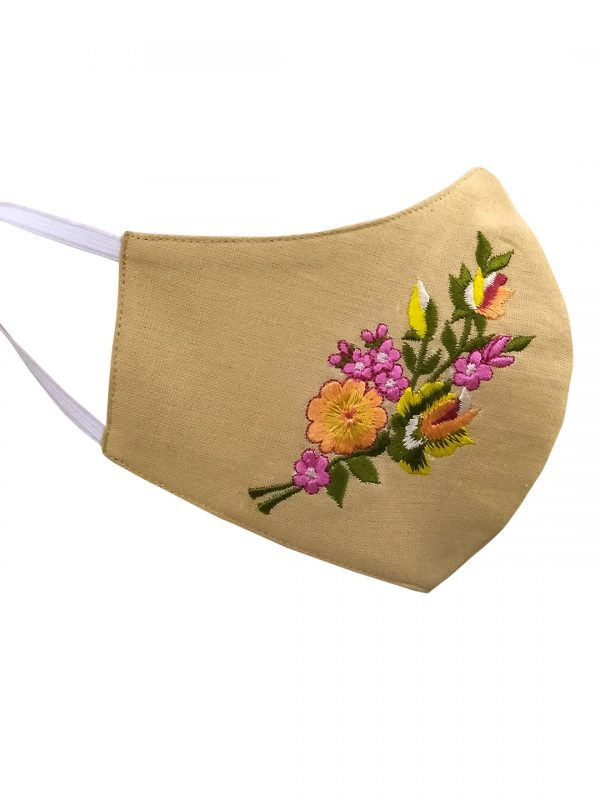 Beige Embroidary Mask