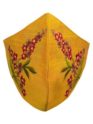 Mustard Yellow Embroidered Mask