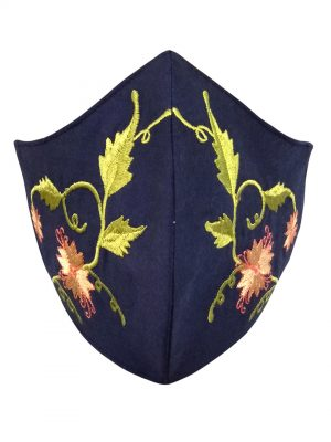 Navy blue Embroidery Mask