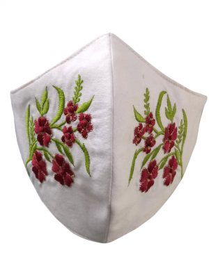 White Embroidery Mask