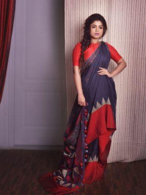 Pure Linen Jamdani Saree