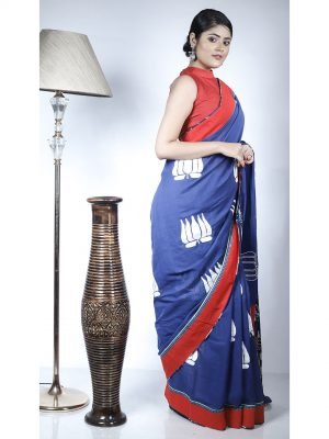 Blue Mangalgiri Applique Saree