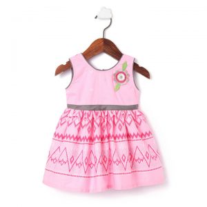 Pink Printed Applique Frock