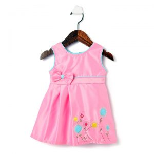 Pink Satin Applique Party Frock