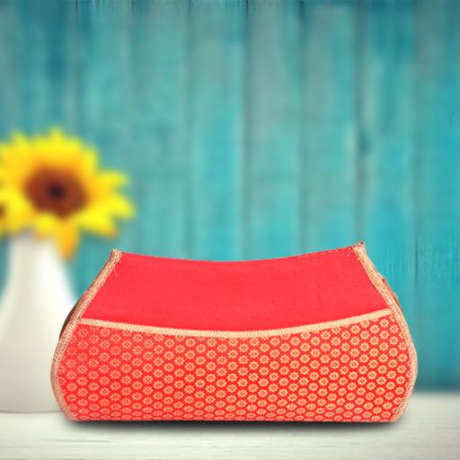 Vermillion red clutch purse