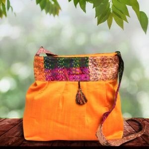 Yellow Silk Kantha Sling Bag