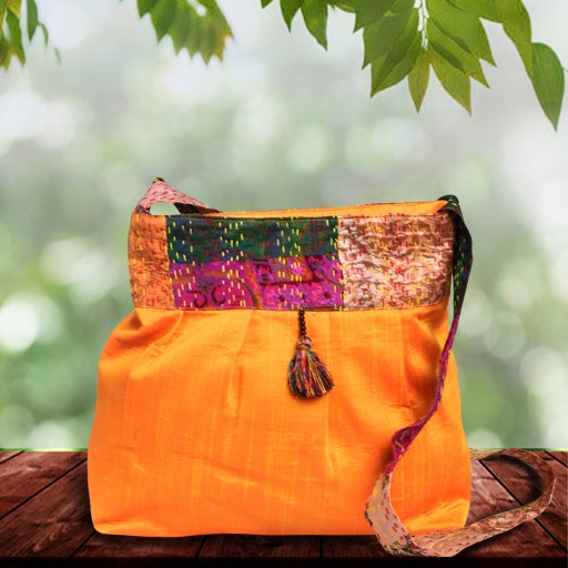 Yellow silk Sling bag