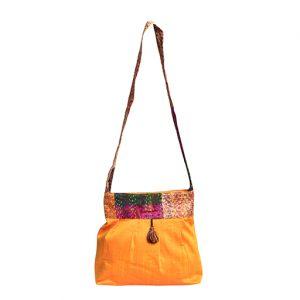 Yellow Silk Kantha Sling Bag