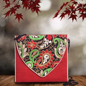Embroidered Silk Sling Bag