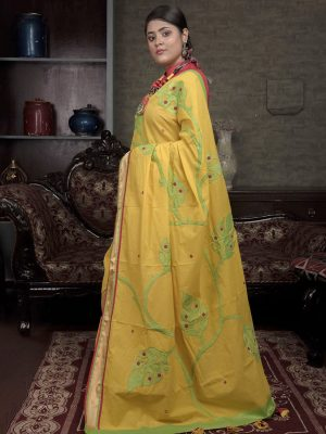 Yellow Mangalgiri Applique saree