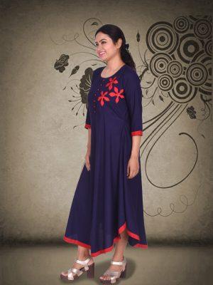 Blue Rayon Applique Dress