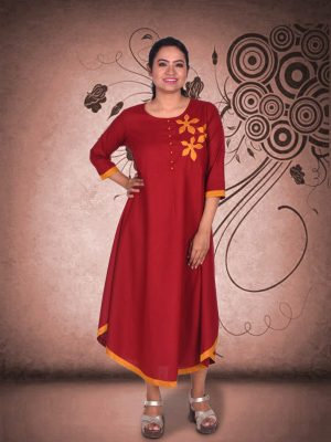 Maroon Applique Dress