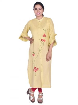 Embroidered Khadi Linen Kurti