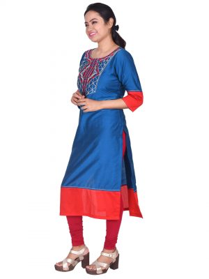 Blue Silk Embroidered Kurta