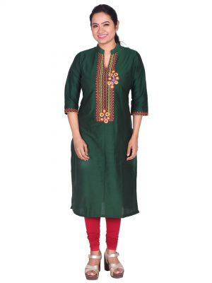 Green Silk Embroidered Kurta