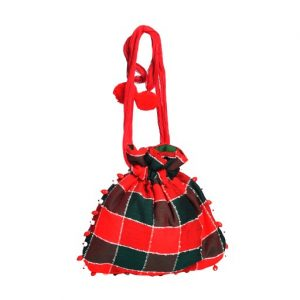 Red Green Checks Potli Bag
