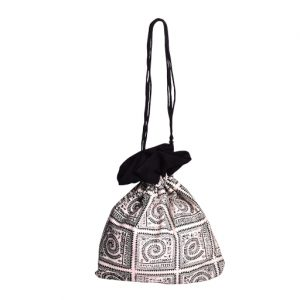 Printed Black-White Potli Bag