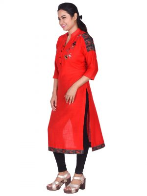 Red Linen Embroidered Kurti