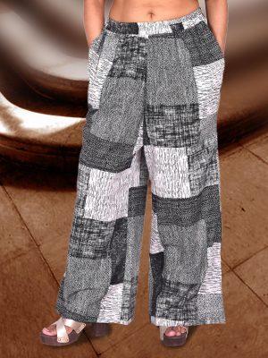 Grey Abstract Print Palazzo