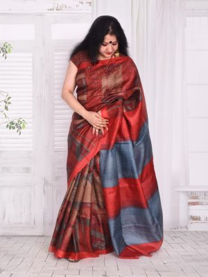 Rust Tussar Silk Saree