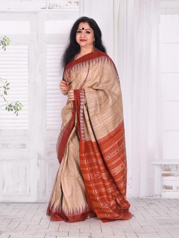 Rust Ghicha silk saree