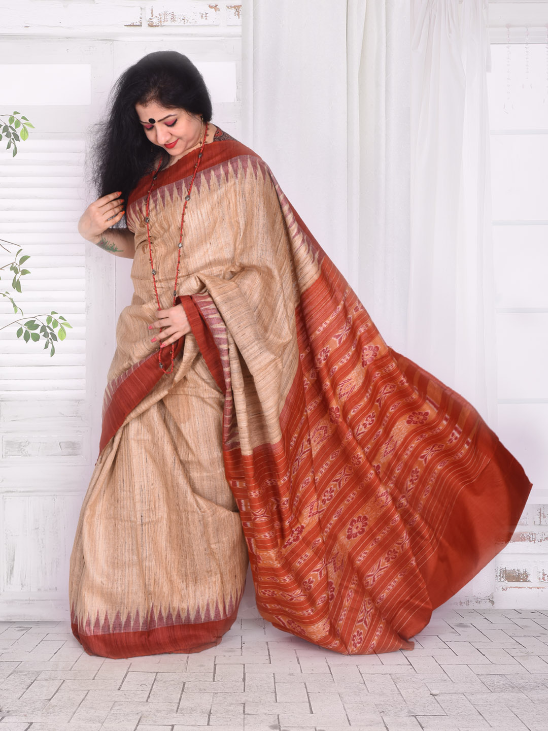 Rust Ghicha Silk Saree
