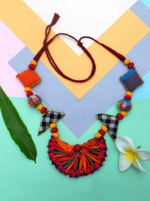 Multicolor Fabric Necklace