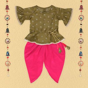 Olive Dhoti Top Set