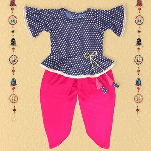 Navy Blue Dhoti Top Set