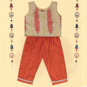 Orange Jacquard Crop Top & Pants