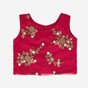 Pink Net Crop Top & Pants